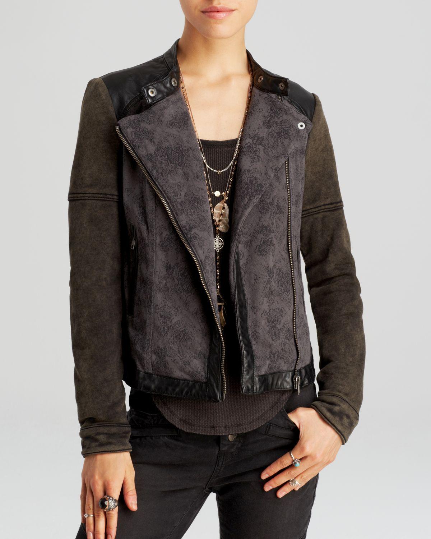 Free People Black Jacket Rugged Pieced Faux Leather Trim Moto Womens Black Jacket Free People Jacket Jackets