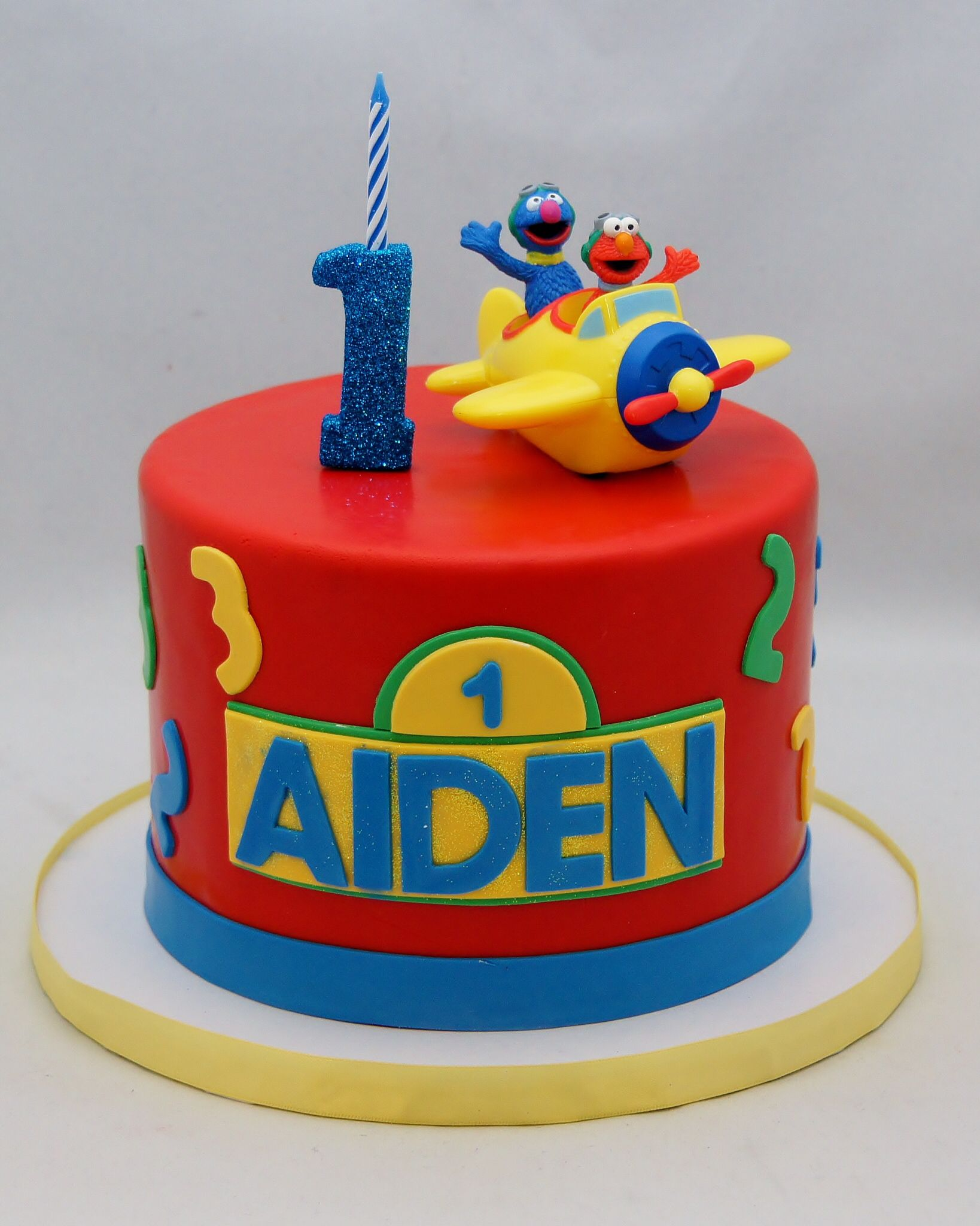 3D Gum Paste 1 Candle And Elmo Grover Keepsake Cake Topper