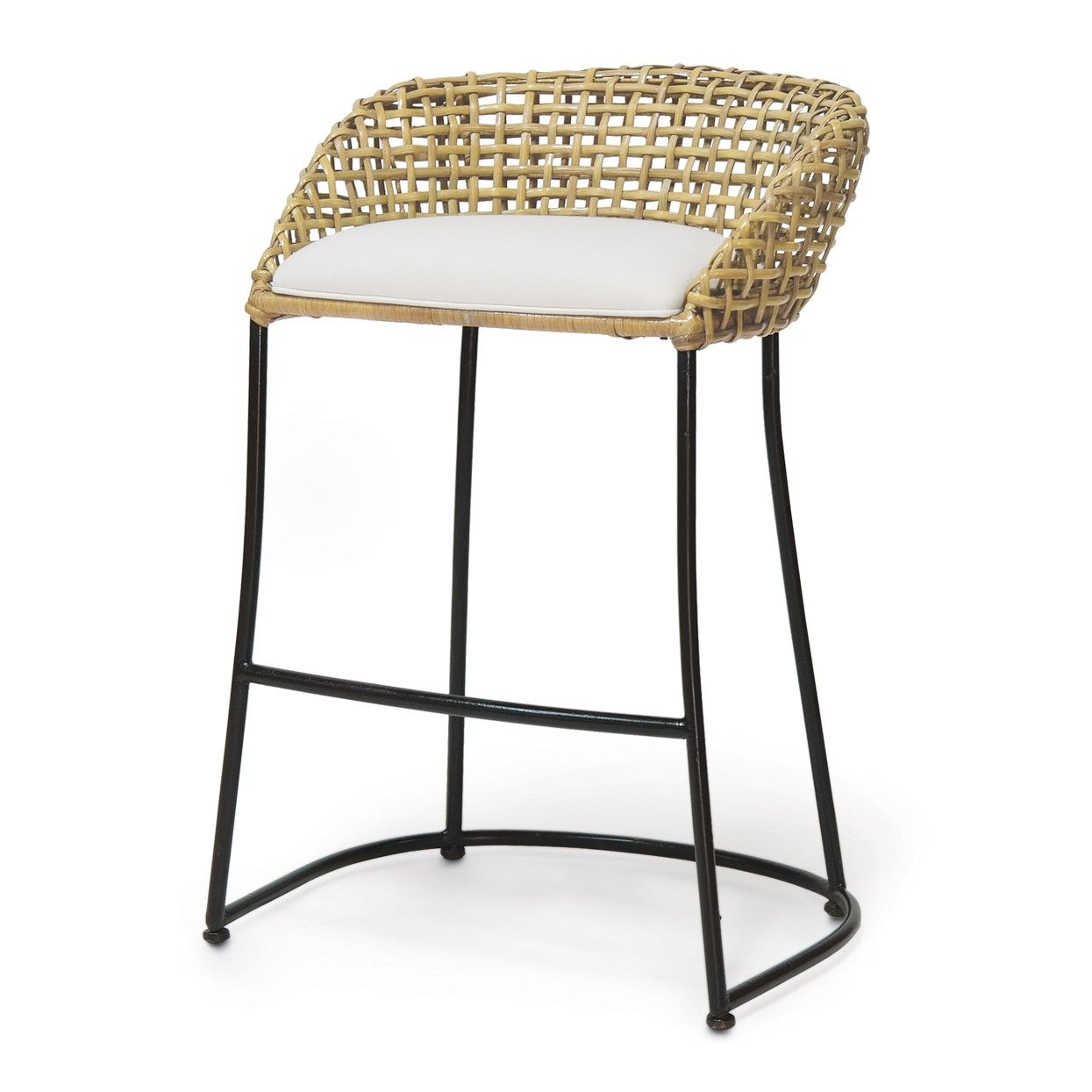 Double Wall Open Rattan Weave Wrapped Around Iron Frame Available In 2 Sizes Counter Stool 24 H X 2 Rattan Bar Stools Rattan Counter Stools Bar Stools