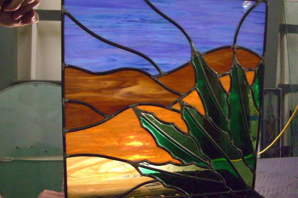 glass window stained glass rustic design foliage cactus ...