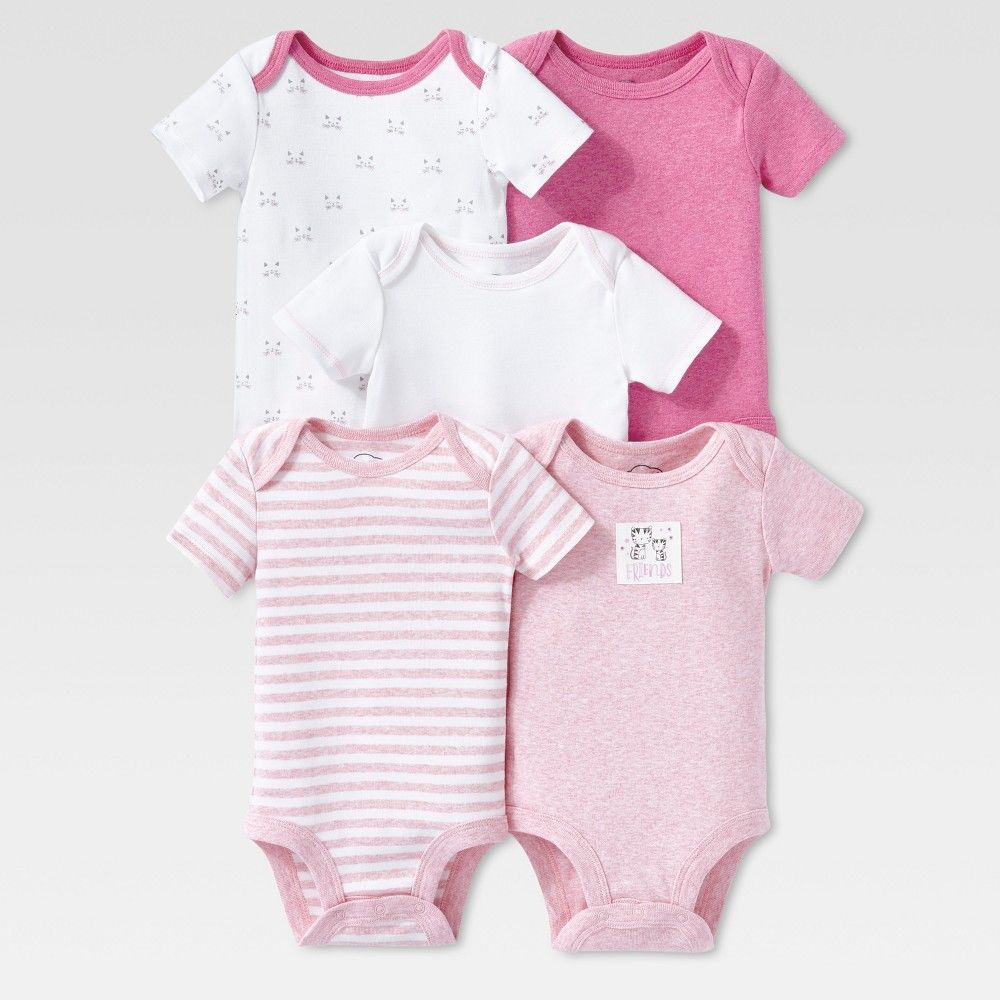 3213a3d188ab Lamaze Baby Girls' Organic 5pc Melange Short Sleeve Bodysuit Set - Pink 24M