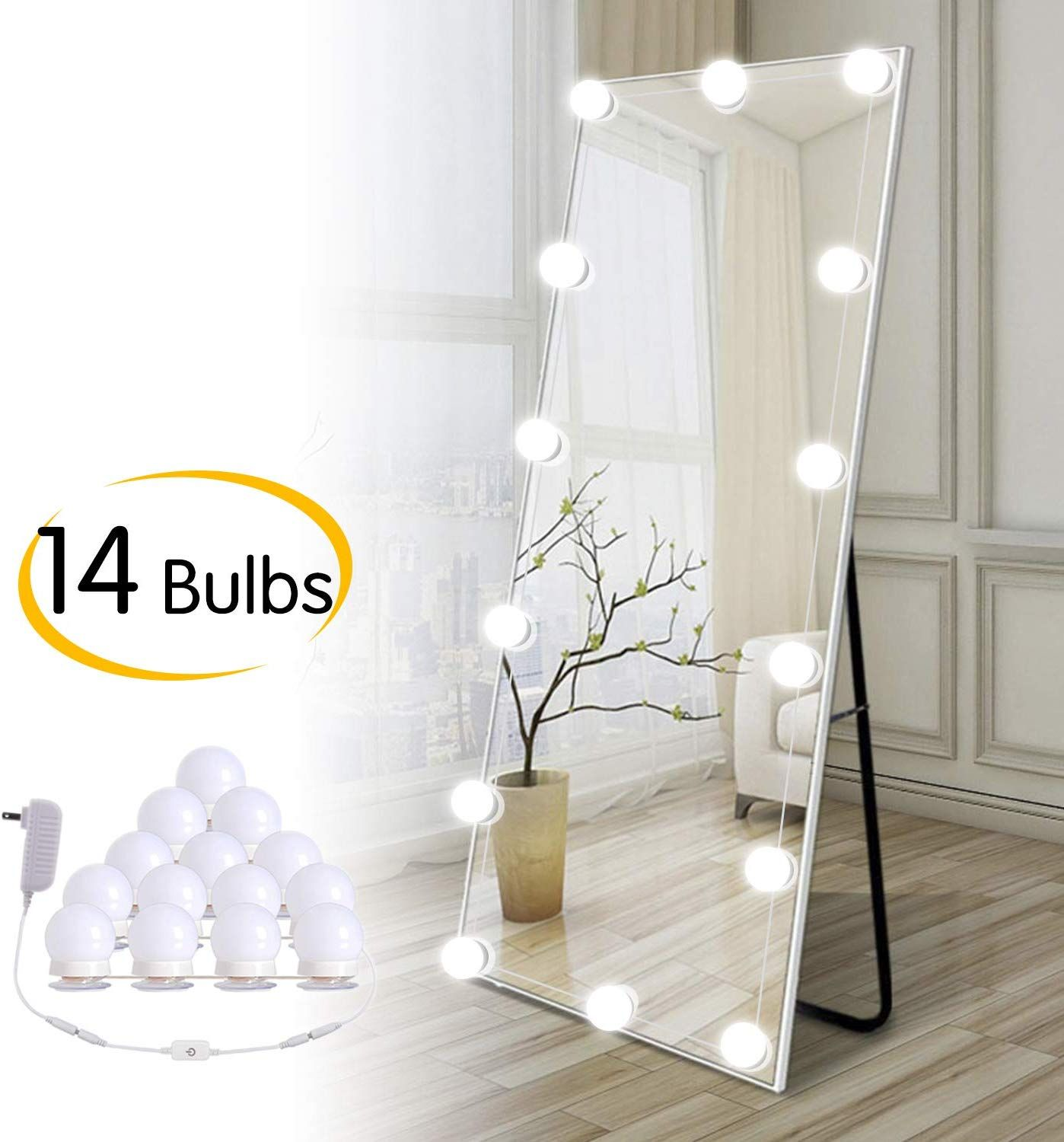 Hollywood Diy Led Vanity Lights Strip Kit With 14 Dimmable Light Bulbs For Dressing Mirror Makeup Table Mirror Plug In Vanity Mirror Lights With Power Supply In 2020 Led Vanity