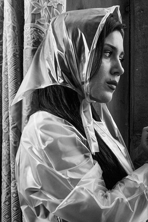 1950 S Head Scarf Vinyl Raincoat Rain Wear Rain Bonnet
