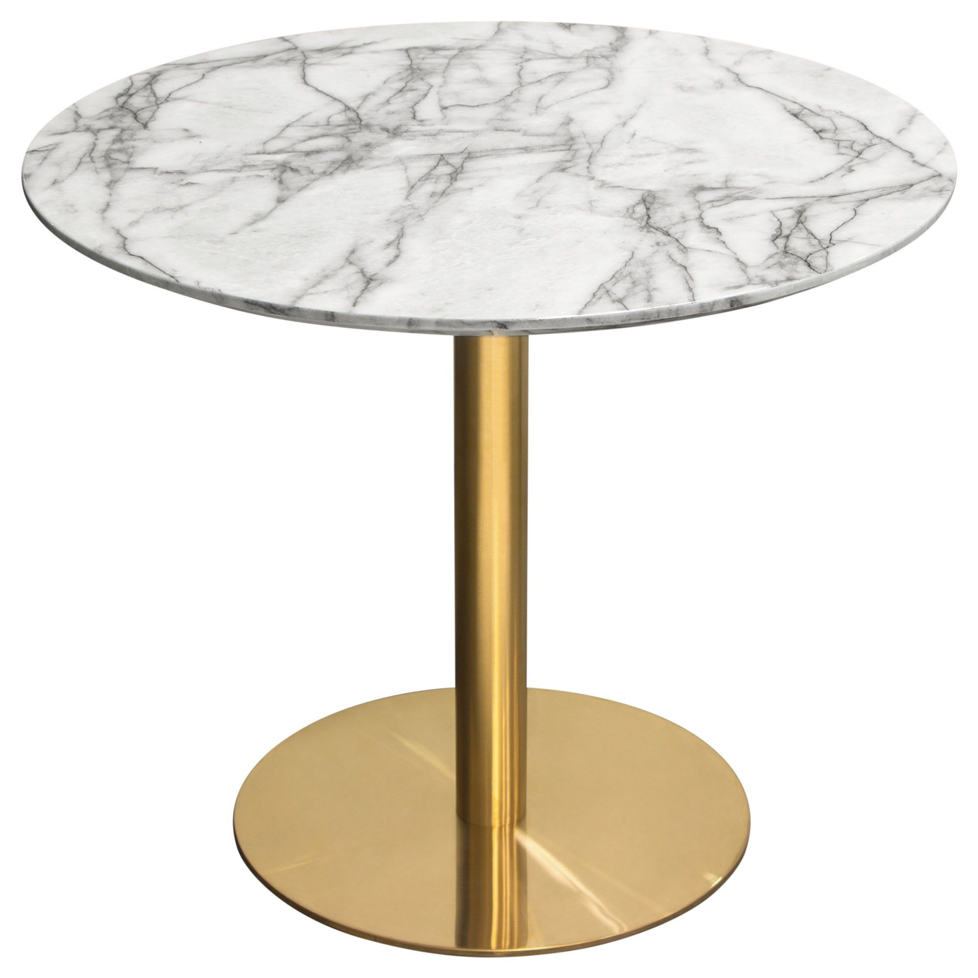 Stella 36 Round Dining Table W Faux Marble Top And Brushed Gold Metal Base By Diamond Sofa In 2021 36 Round Dining Table Dining Table Marble Round Dining Table