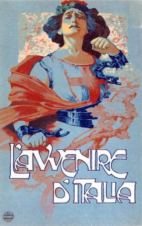 By Roberto Franzoni (1882-1960, Italy), L'Avvenire d'Italia, 1915-18 ca., cartolina, collezione privata. © Museo del Risorgimento di Bologna | Museo della Certosa.