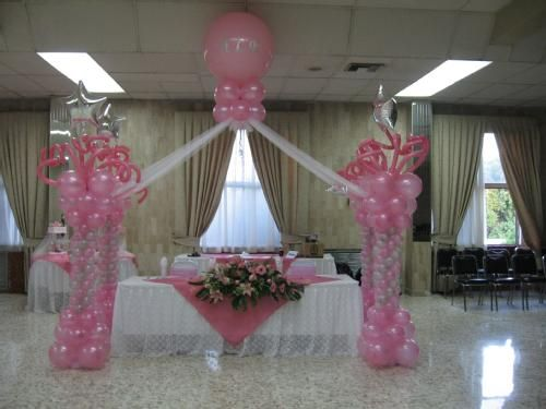 Decoracion para una quinceanera lagranfiesta for Arreglos de salon con globos