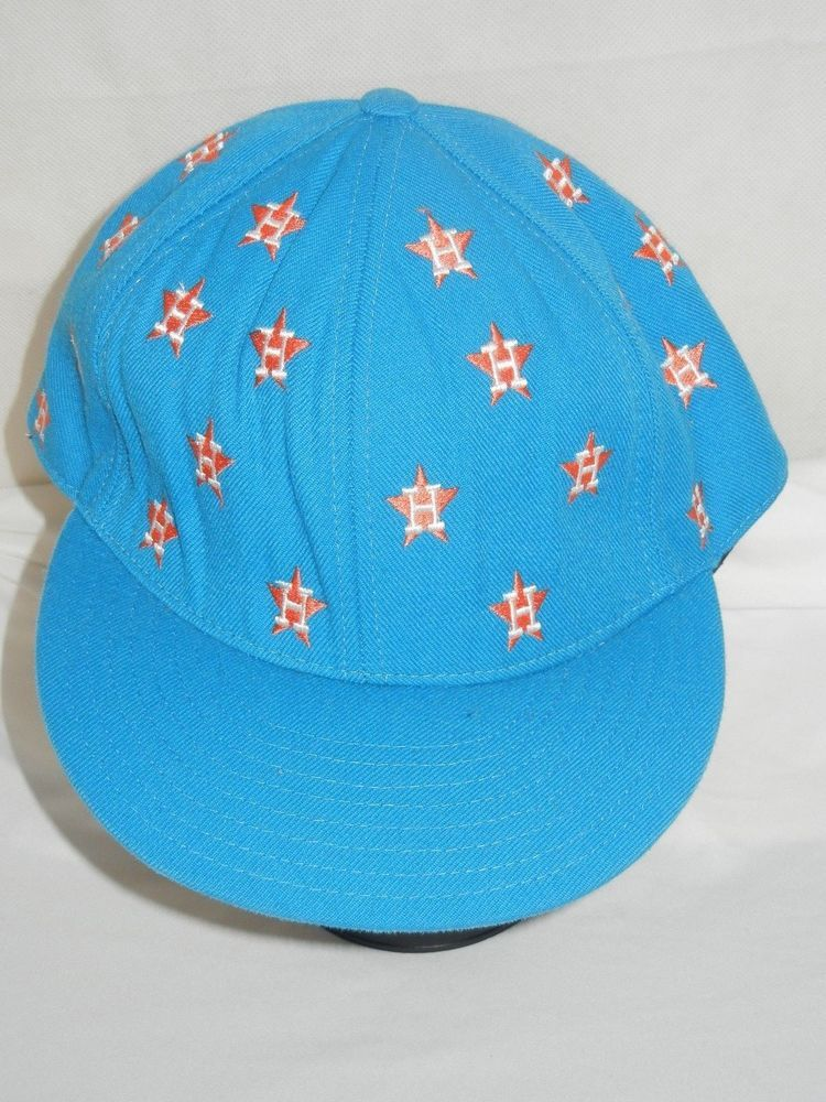 eaeba1d2cb3 VTG Houston Astros fitted 8 1 8 baseball hat cap blue all over sewn logos  HTF  AmericanNeedle  HoustonAstros