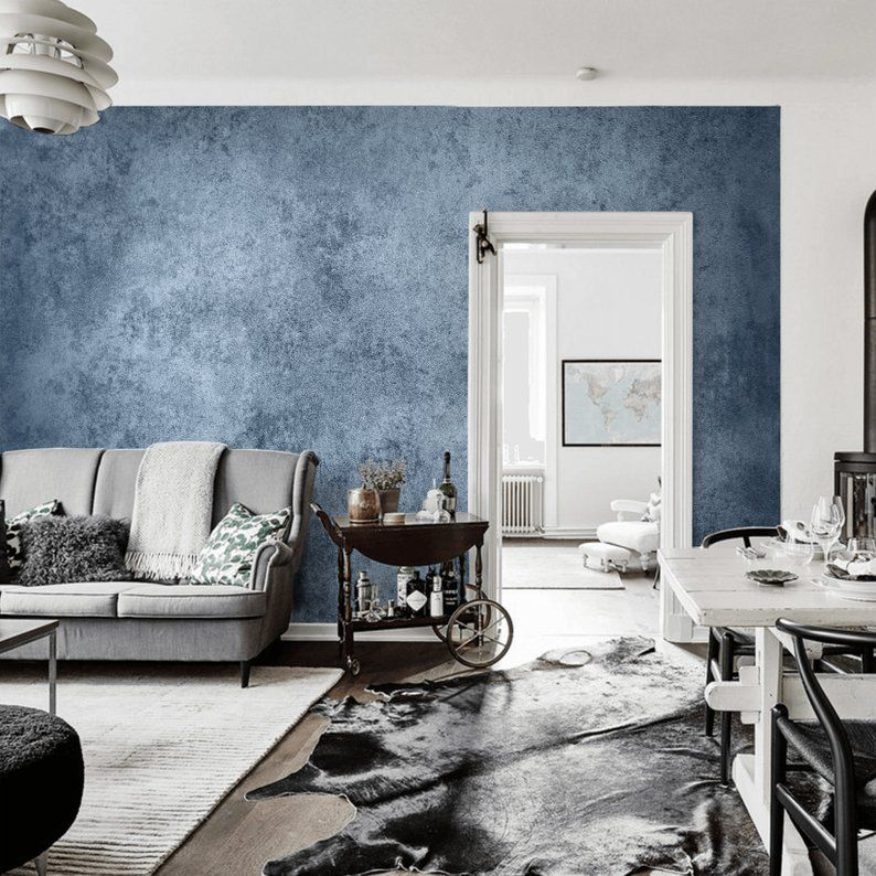 Blue Grunge Wall Mural Concrete Wall Peel Stick Wallpaper Etsy Concrete Wall Peel And Stick Wallpaper Wall Murals