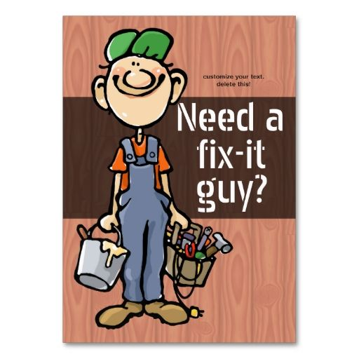 Job Hunting Handyman FixIt Carpenter Painter Business Card - Painter business card template