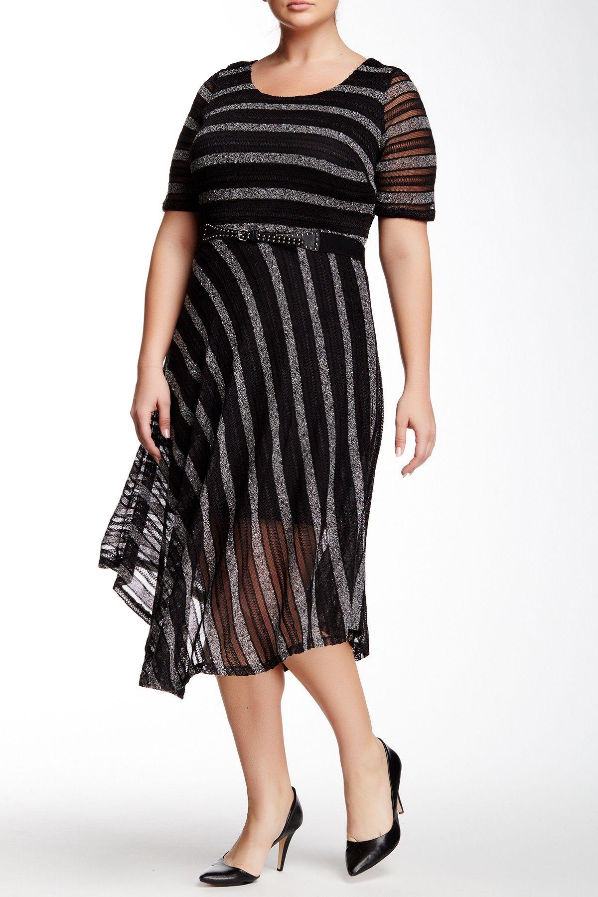 Elbow Sleeve Short Dress (Plus Size) by Sandra Darren on @nordstrom_rack