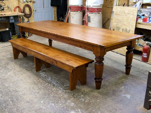 10 Ft Cherry Wood Farmhouse Table With Two 8 Benches