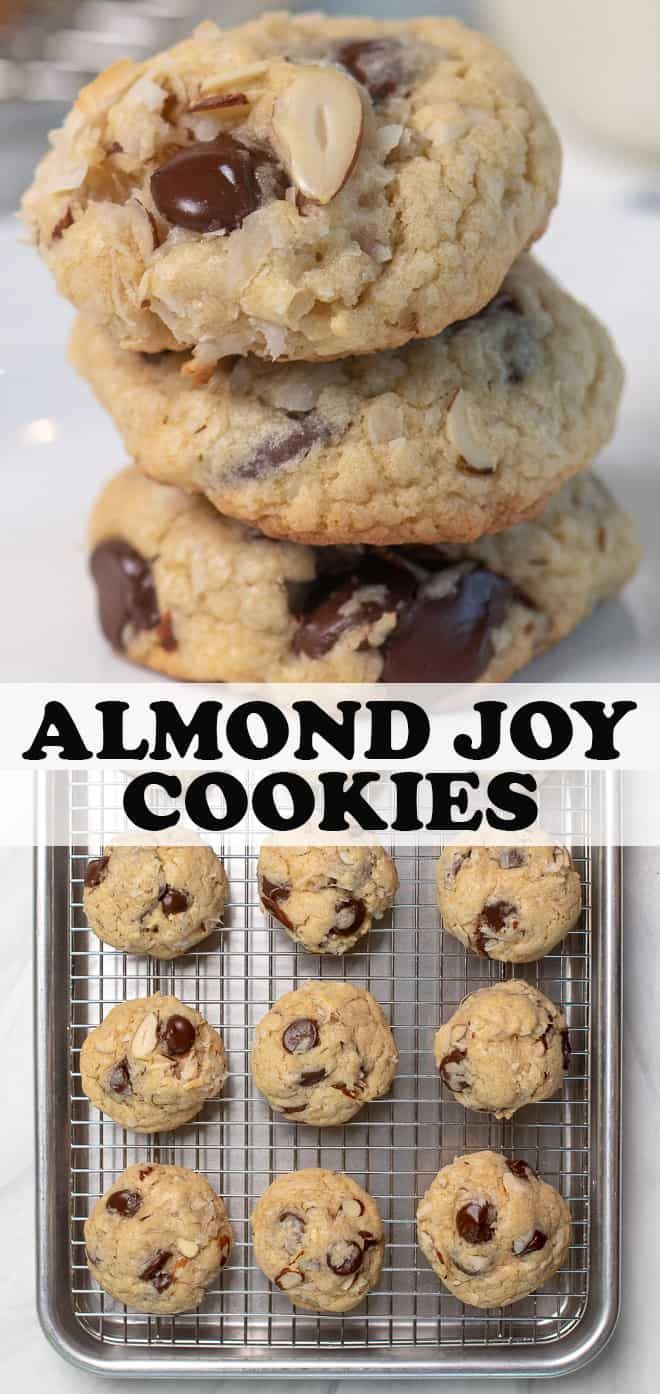 These Almond Joy Cookies include everything you love about the candy bar in the form of a soft, chewy, completely irresistible cookie! #almondjoycookies #easycookierecipes #cookies
