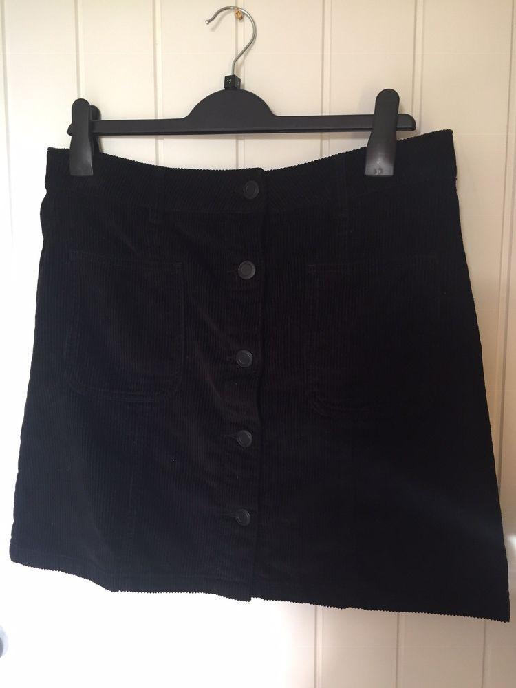 244998847f NEXT BLACK THICK CORDUROY SHORT / MINI SKIRT SIZE 12 - EXCELLENT CON  #fashion #
