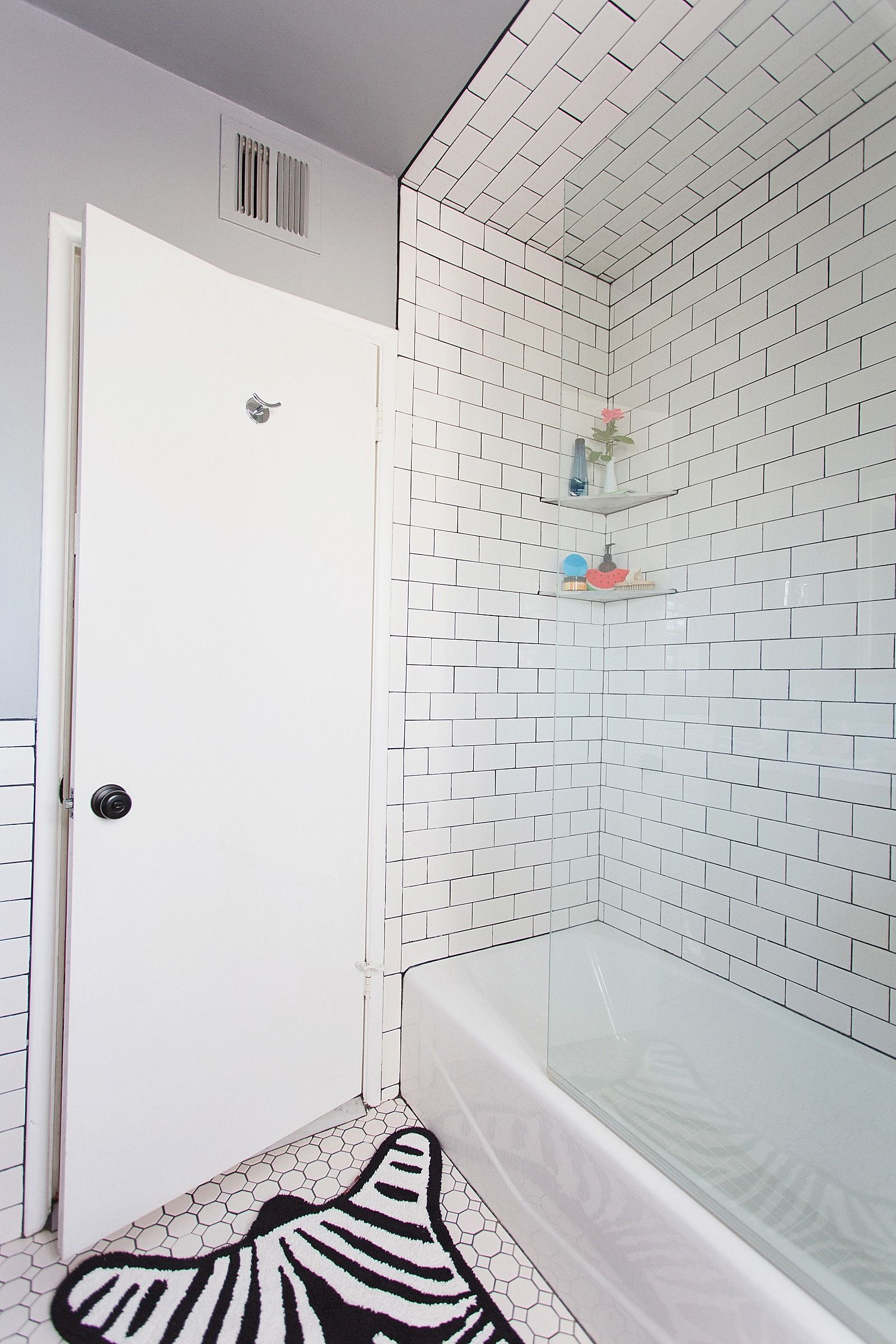 How to refresh a bathroom style | Pinterest | Black grout, White ...