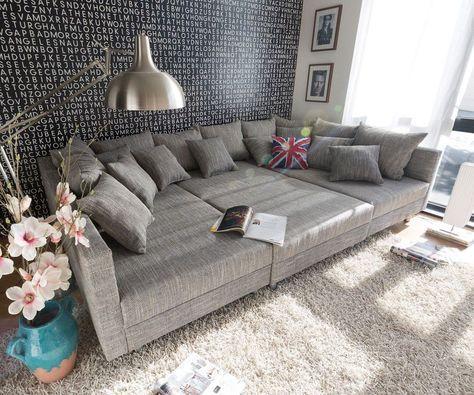 Wohnlandschaft Clovis XXL 300x185 Hellgrau Hocker Kissen Möbel - big sofa oder wohnlandschaft