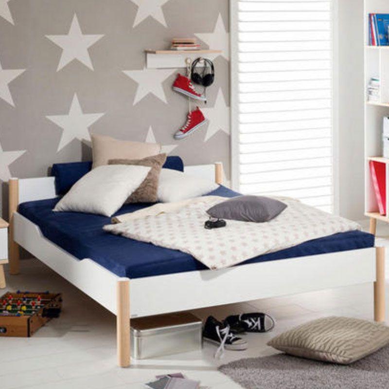 BETT in Weiß, Birkefarben Bett, Paidi bett und Haus deko
