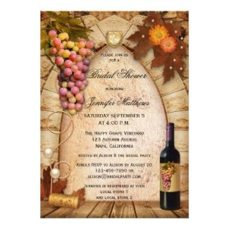 bridal shower invitation with a rustic italian style vineyard or wine theme featuring a roman arch with grapes and wine