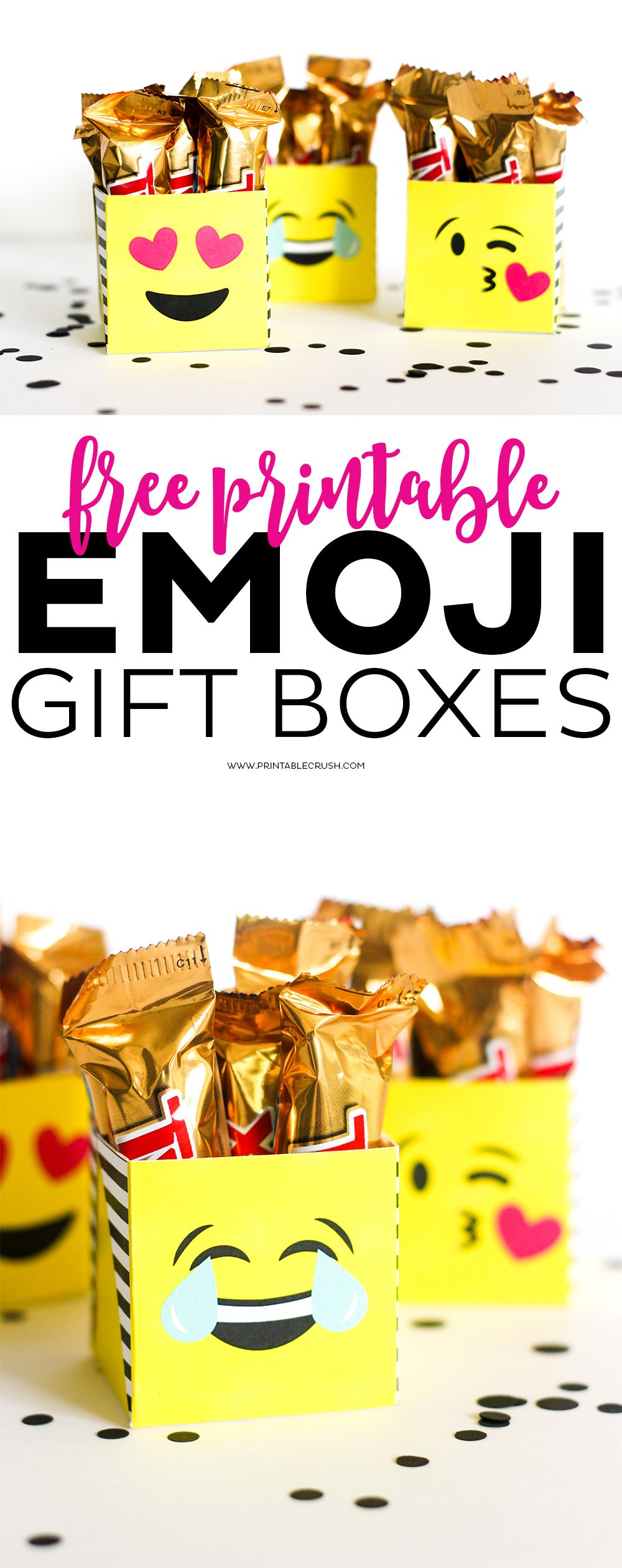 emoji gifts package them using my free printable emoji gift boxes