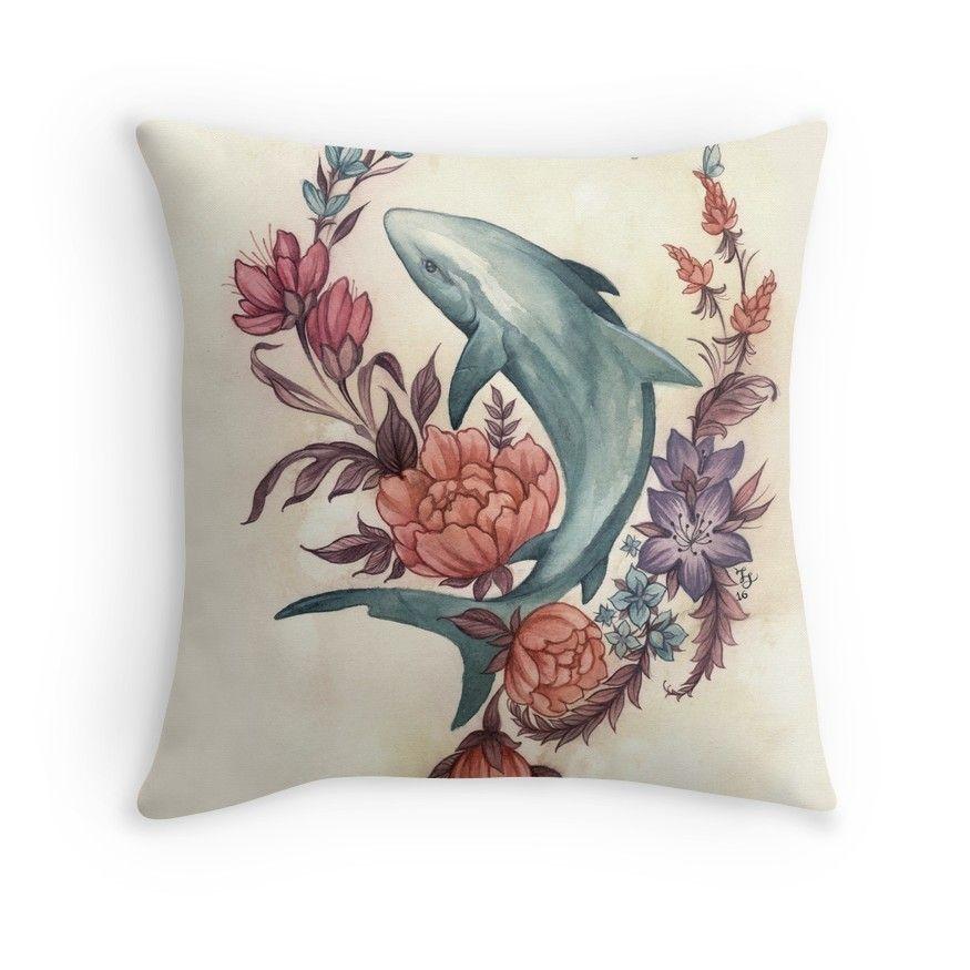 Floral shark throw pillow shark decor home decor
