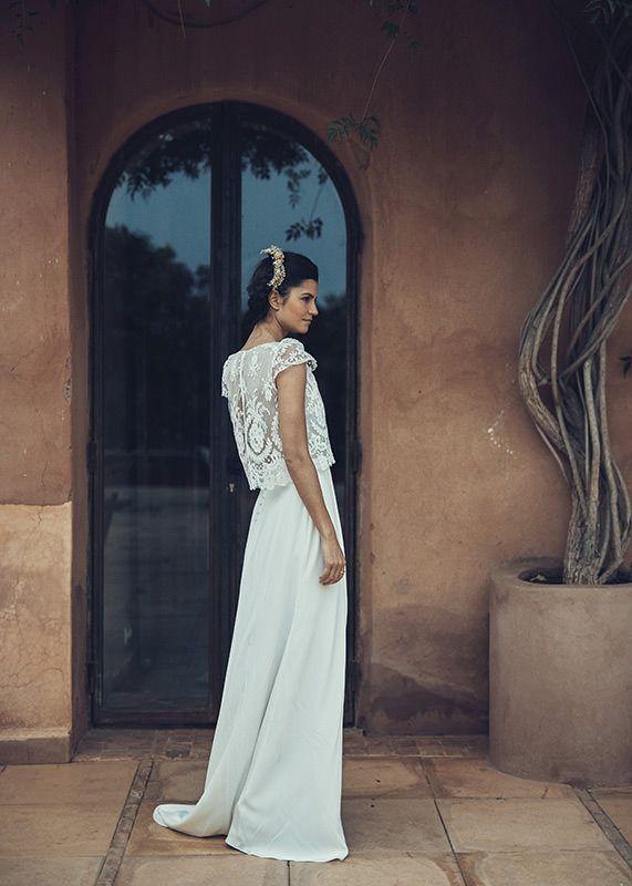 vestido de novia dos piezas laure de sagazan