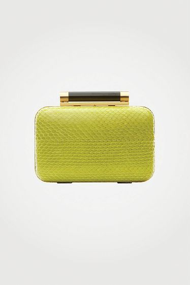 Tonda Small Watersnake Clutch in chartreuse, Fall 2012