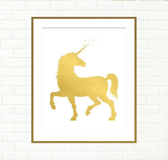 Gold Foil Unicorn, Nursery Wall Decor, Instant Download by Peach And ...