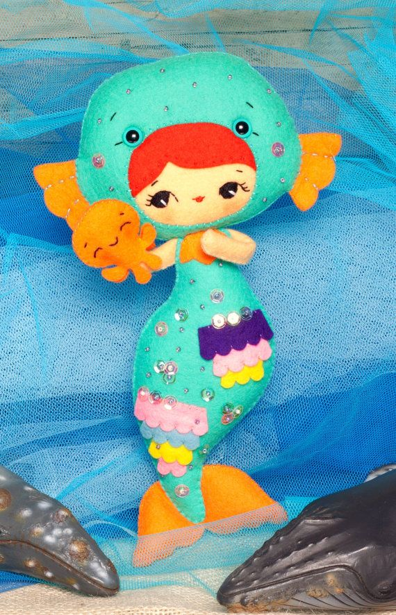 PDF. Mermaid girl with octopus puppet. Plush Doll Pattern, Softie ...