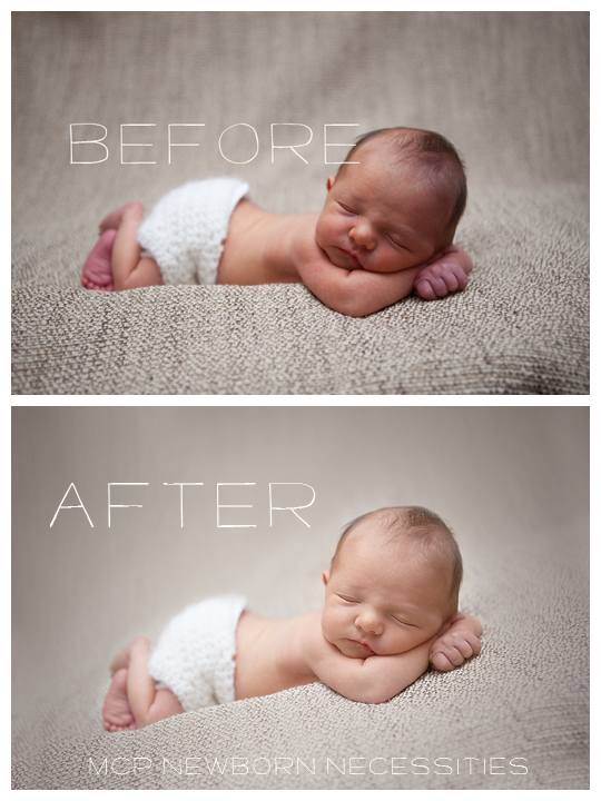 This blueprint will teach you how to edit newborn photos and retouch skin using mcp newborn necessities photoshop actions