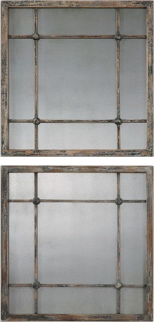 Featuring a window-inspired design and wood frame, this beveled ...