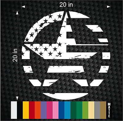 "Military Jeep Wrangler Distressed FLAG Star Hood decal 20"" TJ Rubicon Oscar Mike"