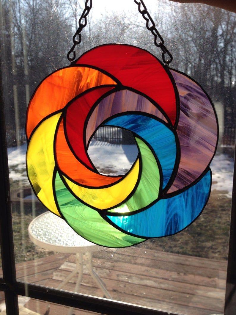 Handmade rainbow geometric abstract stained glass