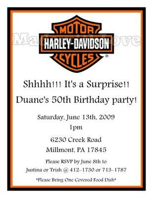 Harley Davidson Birthday Party Invitations Motorcycle