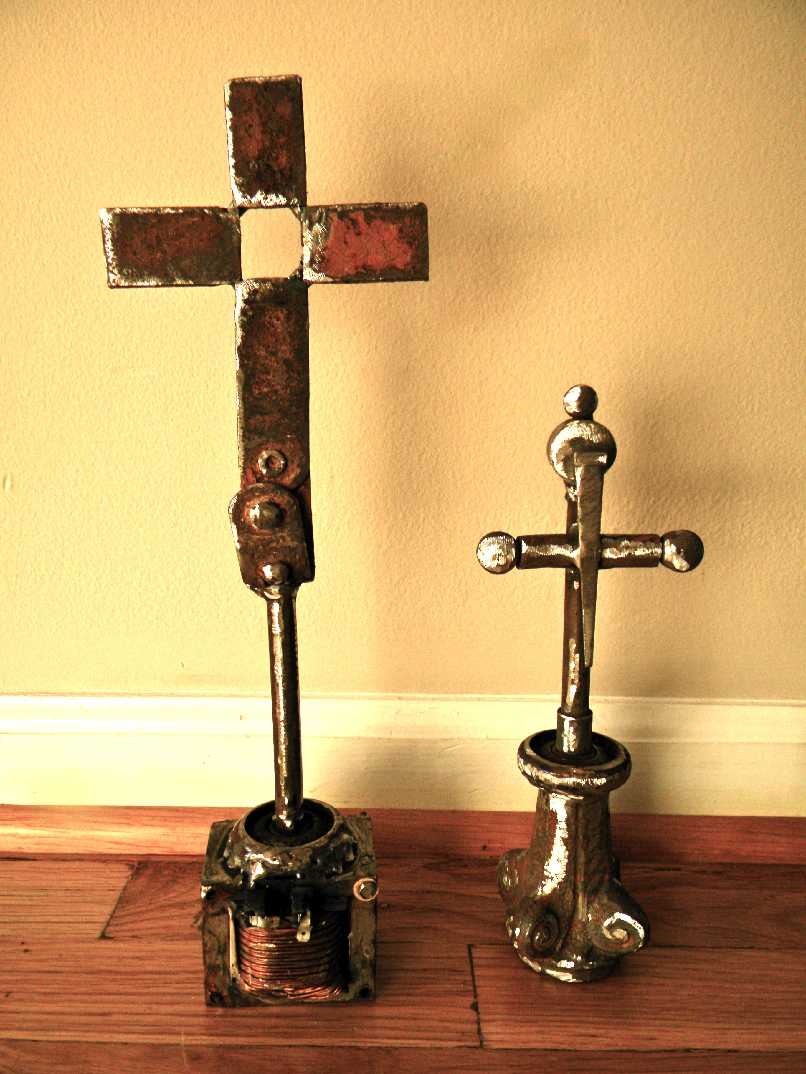 Crosses made of tornado scrap iron by artist Catherine Partain, at ...
