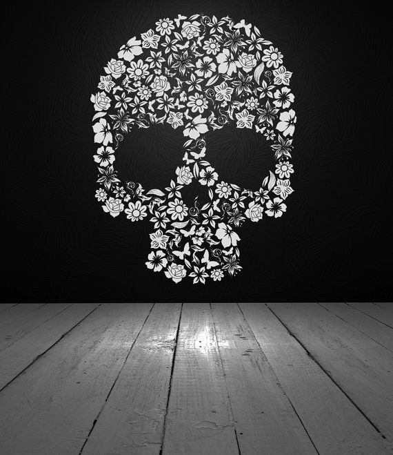 Skull Decor Skull Decal Skull Flowers Flower Skull Vinyl Wall Decal Vinyl Sticker Wall Decor Wall Decal Home Dorm Bedroom Decor