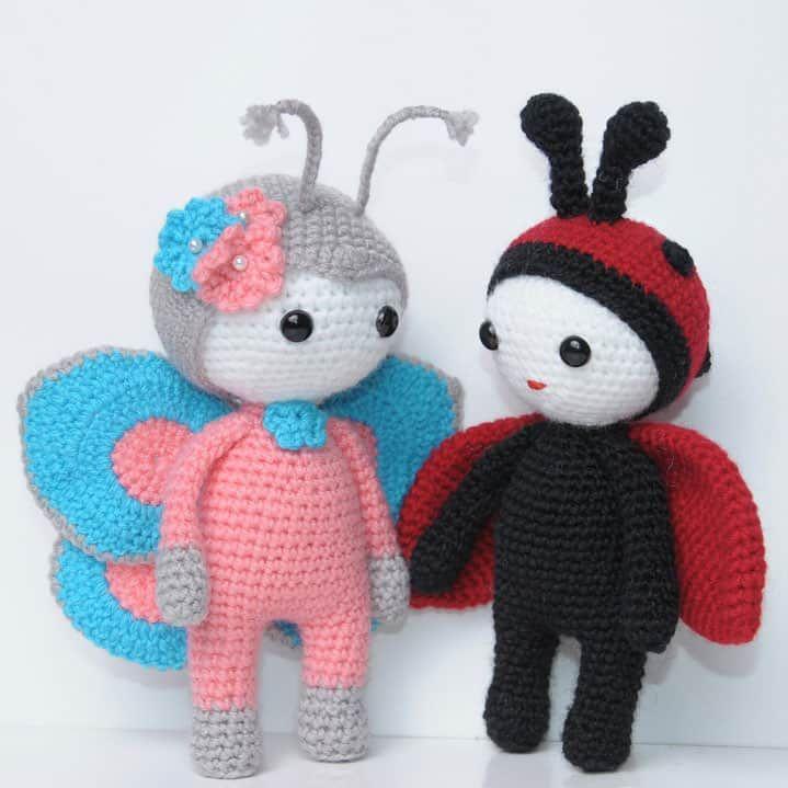 Muñeca Amigurumi en traje de mariposa - patrón de ganchillo gratis ...