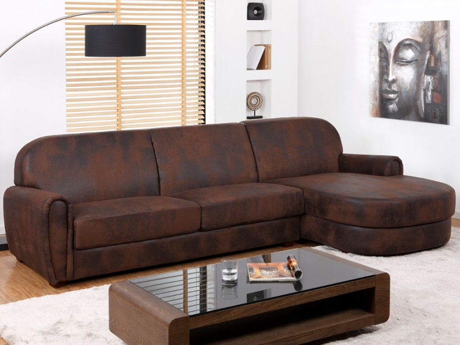 Canapé d angle Club en microfibre aspect cuir vieilli VICTORY II
