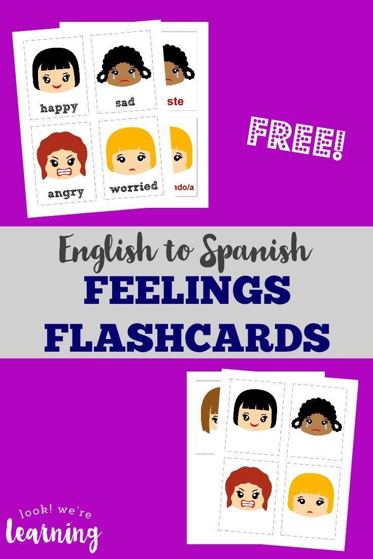 Workbooks learning spanish for kids free worksheets : Printable Spanish Feelings Flashcards   Kids learning, Spanish and ...