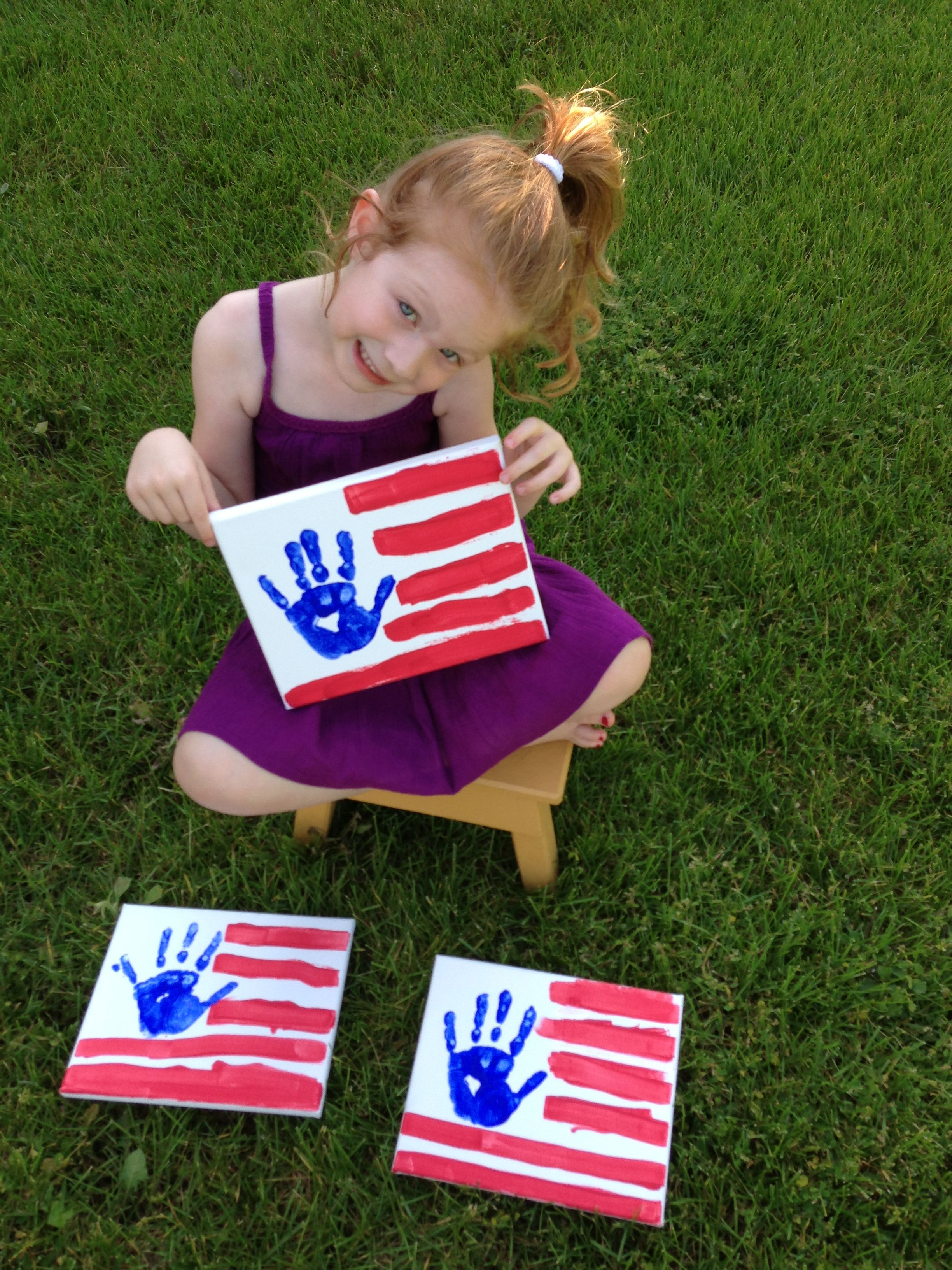 Hand Print 4th Of July Flag On Canvas