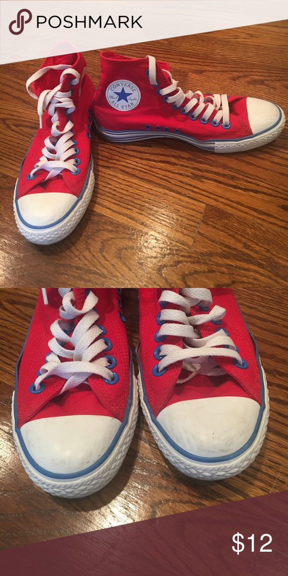 63139f8ab93 Red High Top Converse Size 5 Kids Red Converse Hi Top. So cute. A little  scuffed but totally wearable Converse Shoes Sneakers