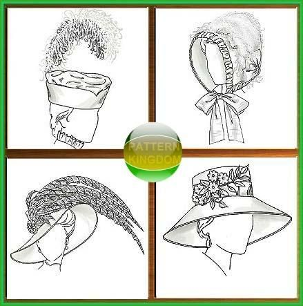 Historical Victorian Period Hat Patterns 4 Styles