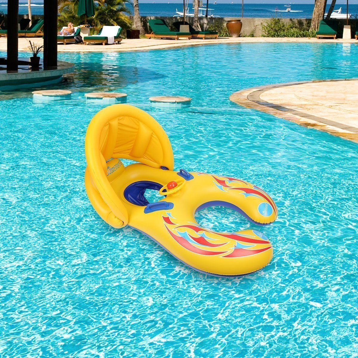 Mother Baby Swimming Pool Float Beach Toys Inflatable Children Safety Ring Seat Canopy & Mother Baby Swimming Pool Float Beach Toys Inflatable Children ...
