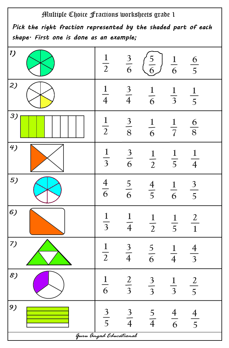 Worksheets Fraction Worksheets For 1st Grade use of multiple choice questions in fractions worksheets worksheets
