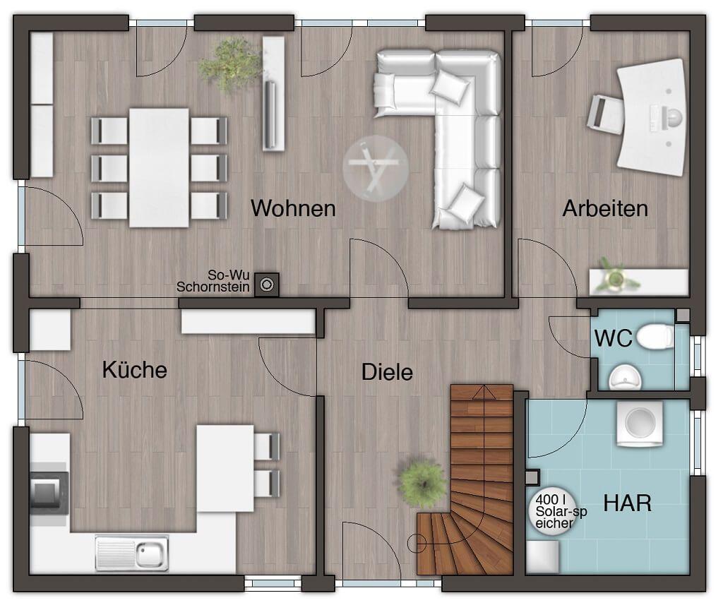 Grundriss Stadtvilla Erdgeschoss, Küche geschlossen, Wohnzimmer ...