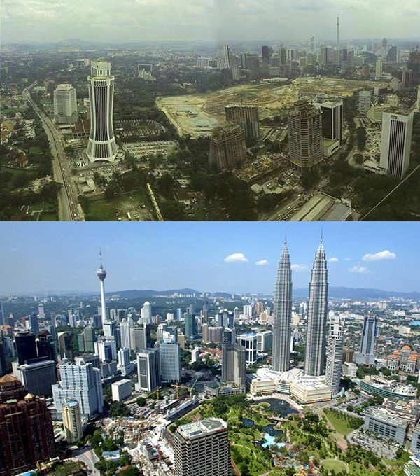 20 skylines of the world then vs now kuala lumpur