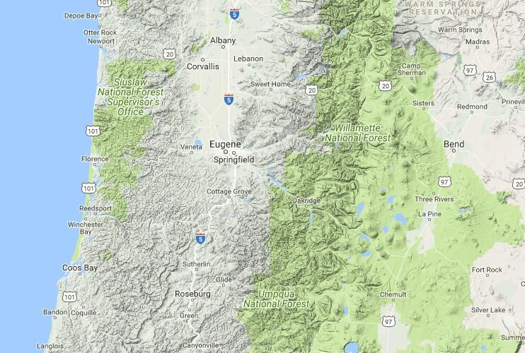 Free Topo Maps And Topographic Mapping Data For Lane County Oregon