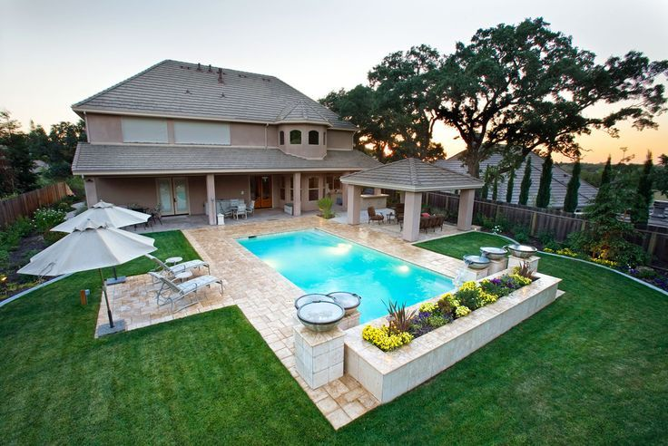 inground rectangle classic pools - Google Search ... on Landscaping Ideas For Rectangular Backyard id=89450