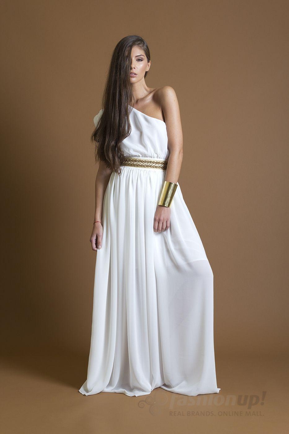 white greek dress  Greek dress, Greek style dress, Dresses