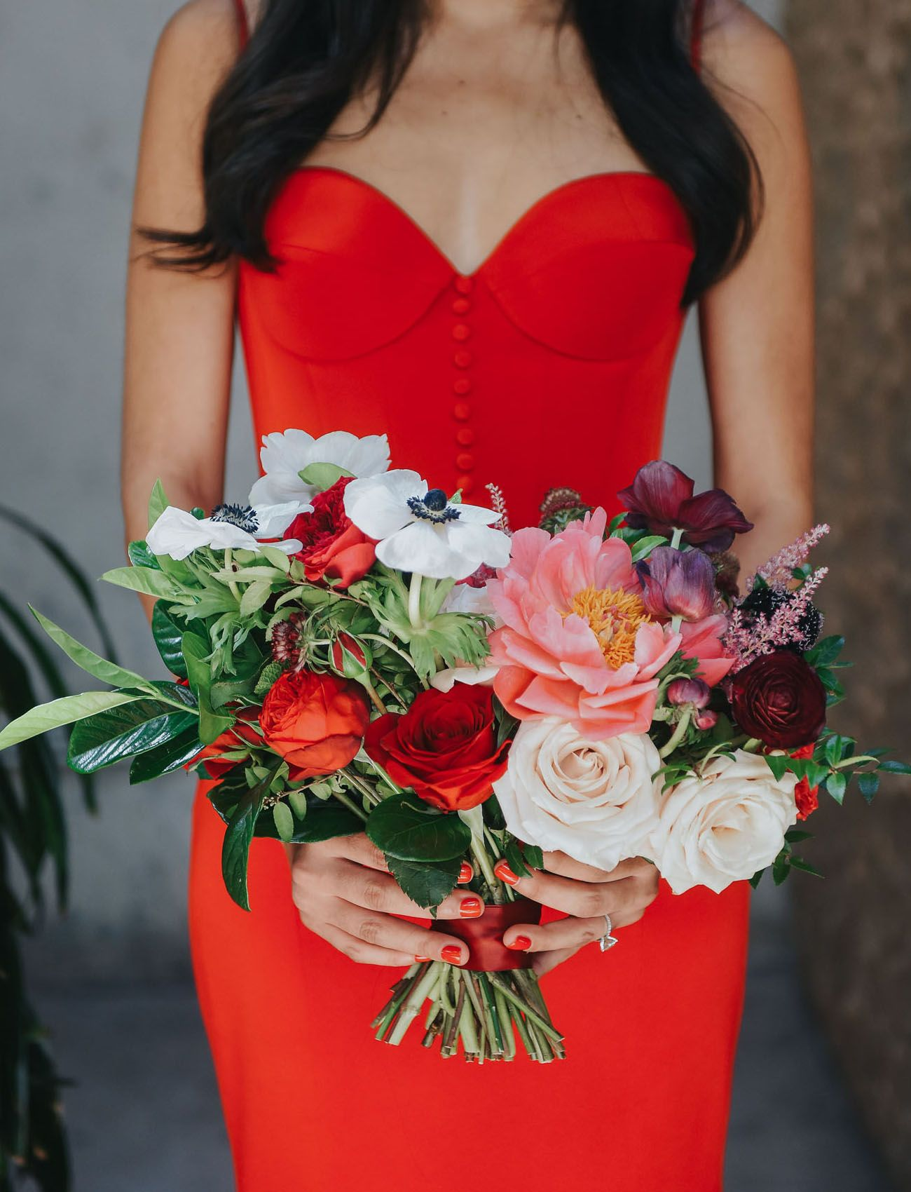 The Bride Rocked A Fiery Red Dress For This Vibrant La Wedding