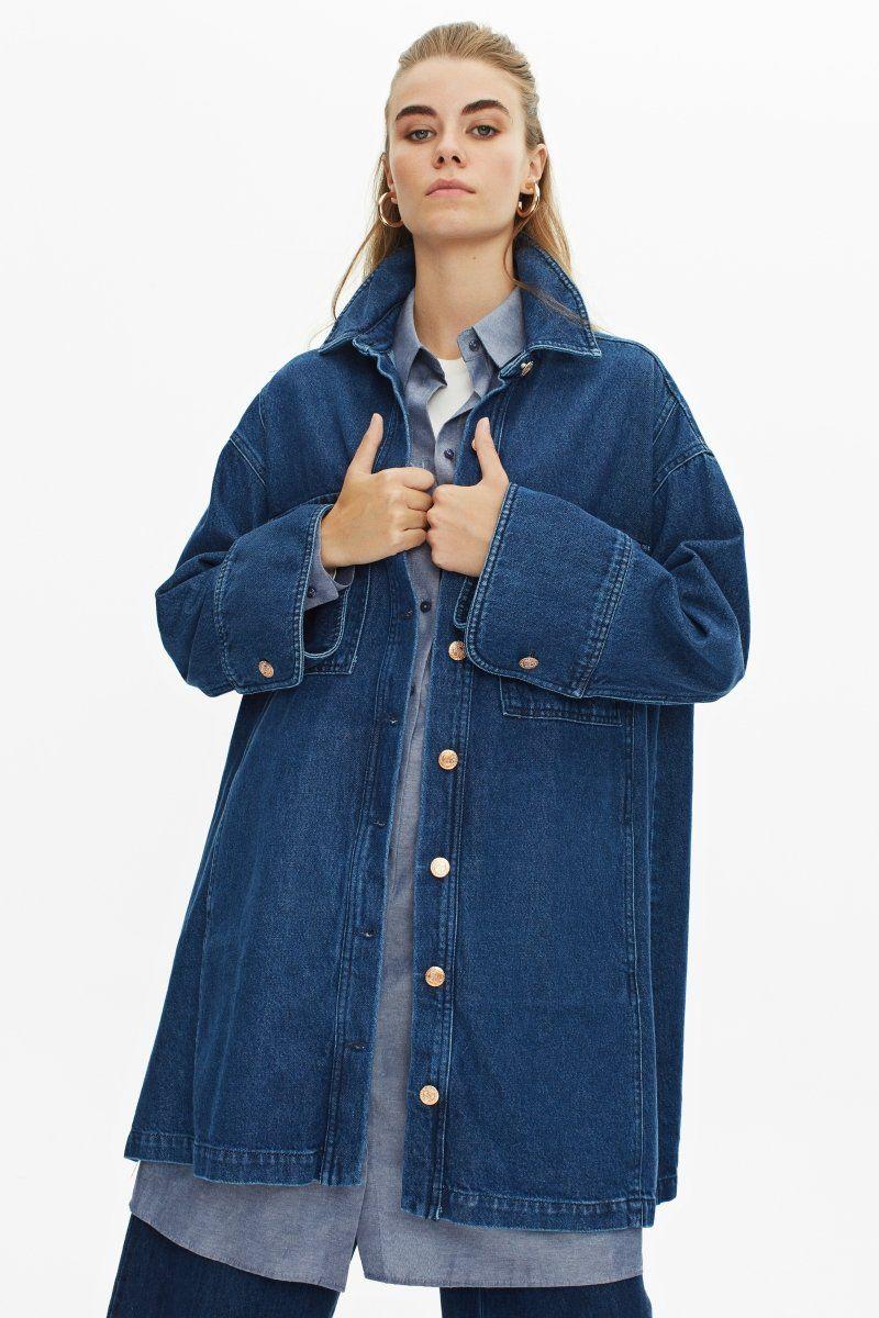 Nowan Tesettur Uzun Kot Ceket 2051 Mavi Kot Ceket Moda Moda Stilleri