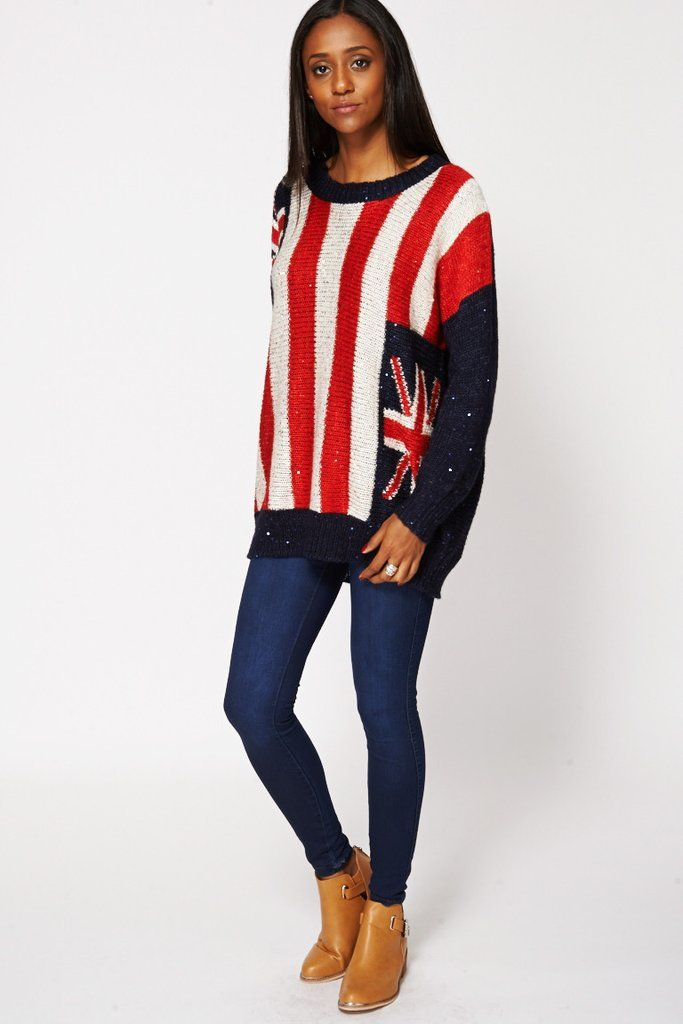 Union Jack Sequined Loose Knit Jumper